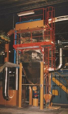 Industrial fluorine scrubber at enameling furnace